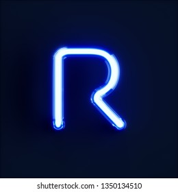 Neon light alphabet character R font. Neon tube letters glow effect on dark blue background. 3d rendering