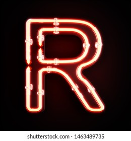 Neon light alphabet character R font. Neon tube letters glow effect on orange background. 3d rendering