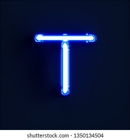 Neon light alphabet character T font. Neon tube letters glow effect on dark blue background. 3d rendering