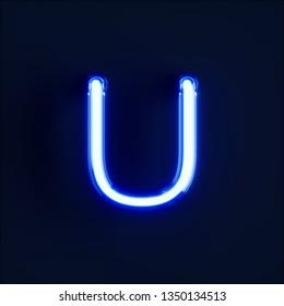 Neon light alphabet character U font. Neon tube letters glow effect on dark blue background. 3d rendering