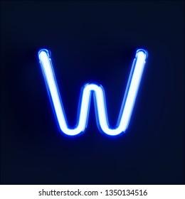 Neon light alphabet character W font. Neon tube letters glow effect on dark blue background. 3d rendering