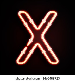 Neon light alphabet character X font. Neon tube letters glow effect on orange background. 3d rendering