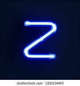 Neon light alphabet character Z font. Neon tube letters glow effect on dark blue background. 3d rendering