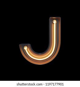 Neon Light Alphabet J with clipping path. 3D illustration