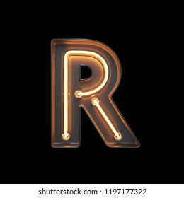 Neon Light Alphabet R with clipping path. 3D illustration