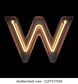 Neon Light Alphabet W with clipping path. 3D illustration