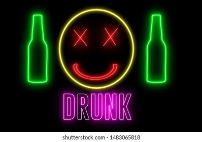 """Neon light of a bottle beer, drunk emoji and text of """"DRUNK"""". Concept of drinking alchol, bar or club signboard. Retro design."""