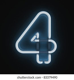 neon light font number four
