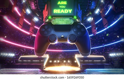 Neon light glow e-sport arena with the big joy pad and screen in middle stadium, 3d rendering background illustration.