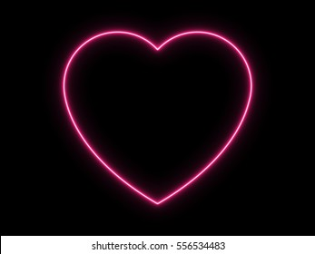 Neon Light Heart Icon on Black Background