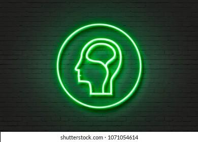 Neon light icon human brain