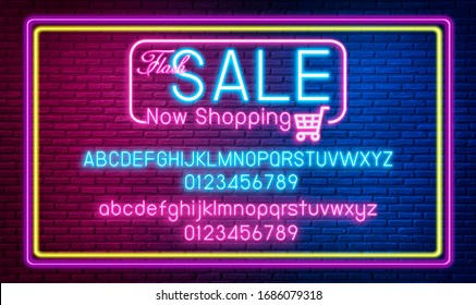 Neon Light Symbol Sale Now Shopping. Collection Sale neon signs.Special discount productsConcept.