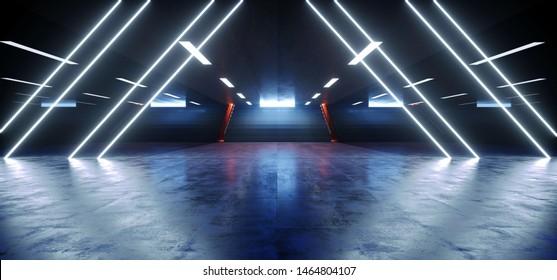 Neon Lights Triangle Shape Hall Dark Empty Underground Tunnel Corridor Stairs Signs Lights White Blue Empty Reflective Grunge Concrete Modern 3D Rendering Illustration