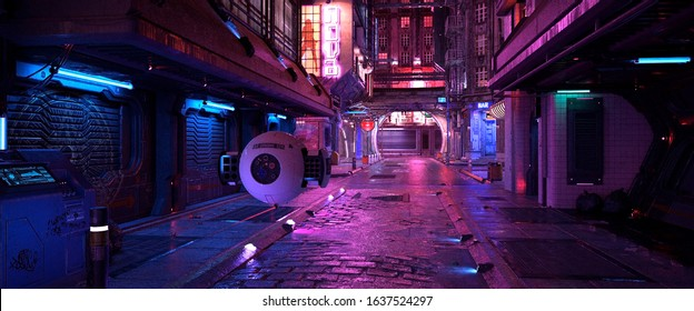 Neon night in a cyberpunk city. Photorealistic 3d illustration of the futuristic city. Empty street with blue and purple neon lights.