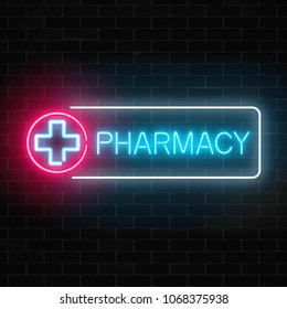 Neon pharmacy glowing signboard on brick wall background. Illuminated drugstore sign open 24 hours.