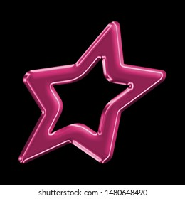 Neon pink plastic sheared rounded star shape design element in a 3D illustration with a fun shiny glass effect & cute pink color glow isolated on a black background with clipping path