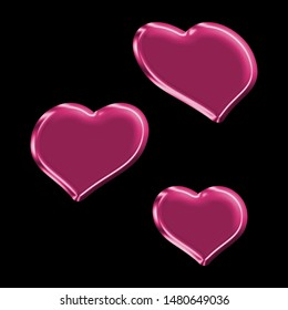 Neon pink plastic sheared rounded hearts set shapes design elements in a 3D illustration with a fun shiny glass effect & cute pink color glow isolated on a black background with clipping path