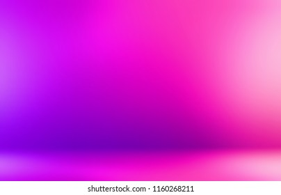 Neon pink studio 3d abstract background. Fuchsia tints ombre pattern. Vibrant wall and floor defocused illustration. Elite empty interior template. Girl fashion backdrop.