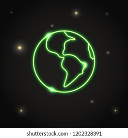Neon planet Earth icon in thin line style. Solar system space element in dark sky.