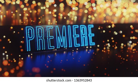 Neon Premiere Sign Abstract Background. 3D illustration
