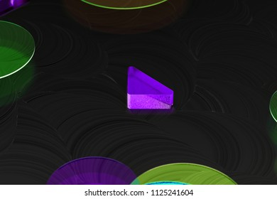 Neon Purple Caret Down Icon on the Black Background With Colorful Circles. 3D Illustration of Purple Arrow, Caret, Down, Download Icon Set on the Black Background.