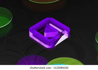 Neon Purple Caret Down in Square Icon on the Black Background With Colorful Circles. 3D Illustration of Purple Arrow, Caret, Down, Pointer, Select, Selector Icon Set on the Black Background.