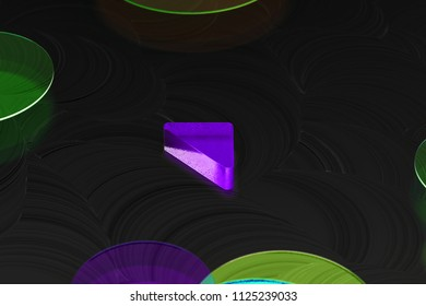 Neon Purple Caret Up Icon on the Black Background With Colorful Circles. 3D Illustration of Purple Arrow, Caret, Drop Up, Up, Upload Icon Set on the Black Background.