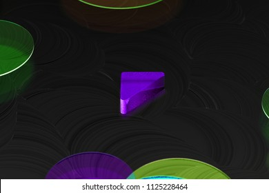 Neon Purple Caret Left Icon on the Black Background With Colorful Circles. 3D Illustration of Purple Arrow, Back, Care, Caret, Left, Previous Icon Set on the Black Background.