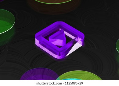 Neon Purple Caret Right in Square Icon on the Black Background With Colorful Circles. 3D Illustration of Purple Arrow, Audio, Caret, Next, Play, Player, Right Icon Set on the Black Background.