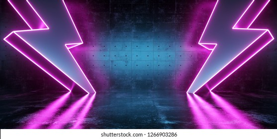 Neon Purple Glowing Futuristic Sci Fi Modern Lightning Bolt High Voltage Shapes In Dark Concrete Reflective Grunge Room Empty Space For Text Symbol Background 3D Rendering Illustration