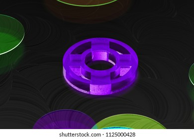 Neon Purple Life Ring Icon on the Black Background With Colorful Circles. 3D Illustration of Purple Floatation Device, Guardar, Life Buoy, Life Ring, Life Save Icon Set on the Black Background.