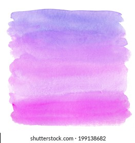 Neon Purple and Pink Ombre Watercolor Painted Square Background.