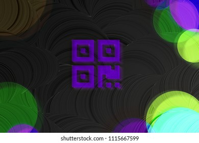 Neon Purple Qrcode Icon on the Black Plain Background. 3D Illustration of Purple Barcode, Code, Qr, Qrcode, Quick Response, Scan Icon Set on the Black Background.