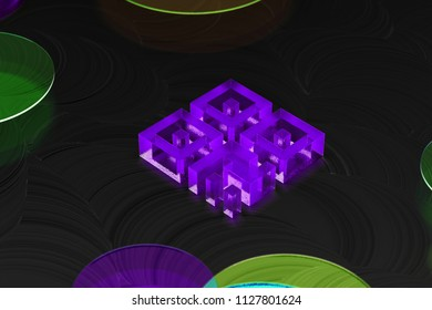 Neon Purple Qrcode Icon on the Black Background With Colorful Circles. 3D Illustration of Purple Barcode, Code, Qr, Qrcode, Quick Response, Scan Icon Set on the Black Background.