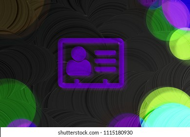 Neon Purple Vcard Icon on the Black Plain Background. 3D Illustration of Purple v Card, v Card, Vcard, Vcard File, Vcard File Icon Set on the Black Background.