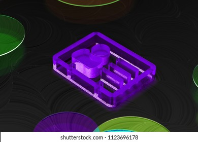 Neon Purple Vcard Icon on the Black Background With Colorful Circles. 3D Illustration of Purple v Card, v Card, Vcard, Vcard File, Vcard File Icon Set on the Black Background.