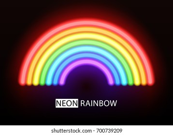 Neon rainbow. Glowing multicolored brushes on a black background. Raster version