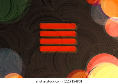 Neon Red Align Text to Justify Icon on the Brown Background With Colorful Circles. 3D Illustration of Red Align, Alignment, Center, Hamburger, Justify, Menu, Text Icon Set on the Brown Background.