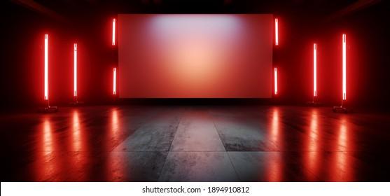 Neon Red Orange Stage Showroom Scene Concrete Floor Big White Billboard Plane Empty Vibrant Spaceship Sci Fi Futuristic Showcase Club Show Dark Cyber Virtual 3D Rendering Illustration