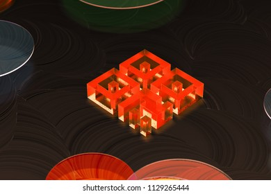 Neon Red Qrcode Icon on the Warm Background With Yellow Circles. 3D Illustration of Red Barcode, Code, Qr, Qrcode, Quick Response, Scan Icon Set on the Warm Background.