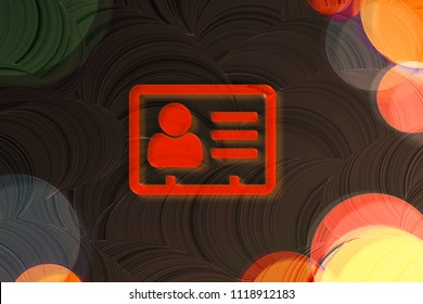 Neon Red Vcard Icon on the Brown Background With Colorful Circles. 3D Illustration of Red v Card, v Card, Vcard, Vcard File, Vcard File Icon Set on the Brown Background.