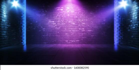 Neon Retro Brick Walls Club Mist Dark Foggy Empty Hallway Corridor Room Garage Studio Dance Glowing Blue Purple Spot Lights Concrete Floor 3D Rendering Illustration
