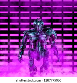 The neon robot commander / 3D illustration of science fiction scene with heavily armoured android in front of glowing neon lights