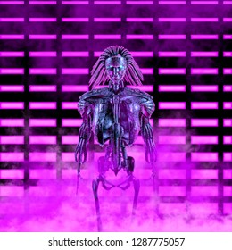 The neon robot princess / 3D illustration of science fiction scene with female spiky haired android in front of glowing neon lights