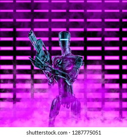 The neon robot trooper / 3D illustration of science fiction scene with military android holding laser rifle in front of glowing neon lights