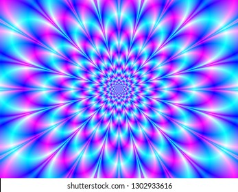 Neon Rosette in Blue and Pink / An abstract fractal image with a neon rosette design in blue and pink.
