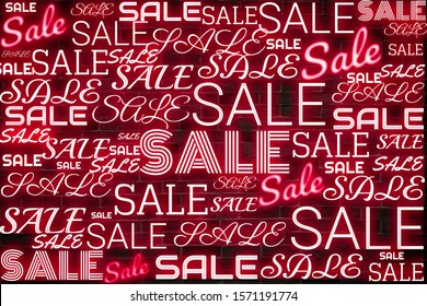 Neon sale concept on vintage wall background, shopping, price discount, clearance sale,product advertising,end of season.