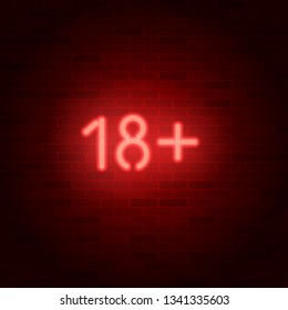 Neon sign 18 plus on brick wall. Age rating symbol. Raster version