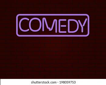 Neon sign comedy on bricks wall