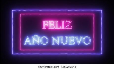 Neon sign 'Feliz Ano Nuevo'- Happy New Year in spanish language